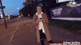 Skinny redhead slut at real sexdate outdoor pick up in the night