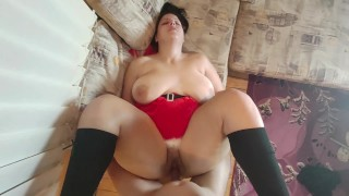 Snow White with Big Ass and Tits Tries Her New Toys for Christmas and Cum on Santa's Cock