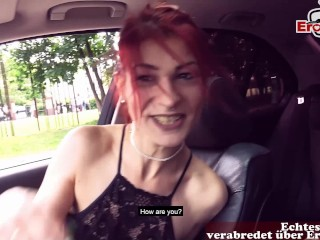 SUPER SKINNY GERMAN SLUT PICK UP IN CAR AND OUTDOOR FUCK IN BERLIN