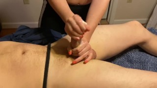Palming the Head of his Dick after Ruined Orgasm Handjob Torture