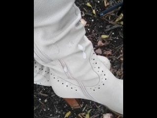 He followed me in the street and I let him cum on my boots in public park and filmed cumshot