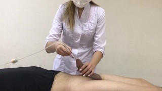 girl plays with his dick with a vacuum medical instrument