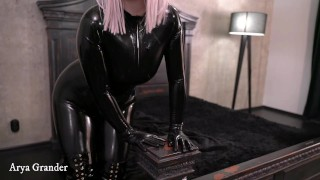 Amazing Luxury Milf in Latex Rubber Fetish Clothes and Thigh high Boots Relaxing and Teasing You