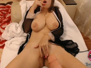 Naughty MILF TITFUCK with BIG DILDO!!! Horny Milf Plays With Huge DILDO And Fingering Her WET PUSSY