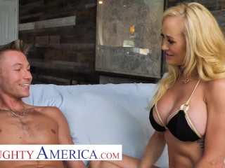 Naughty America - The beautiful MILF, Brandi Love, enjoys the sun, her pool, and cock!