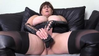 Nasty Big Tit, Mature Goth Enjoys Big Black Dildo Fuck, Boots, Basque and Stockings