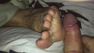 Granny Ann Moans and Begs For Your Cum On Her Feet