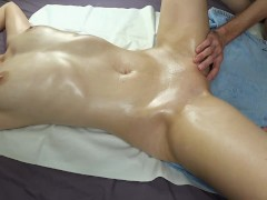 Shaking squirt orgasm from erotic oiled massage, redhead with oil tits