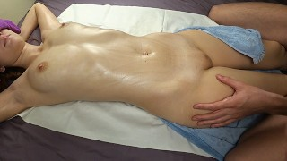 Shaking squirt orgasm from erotic oiled massage, redhead fucking oil tits