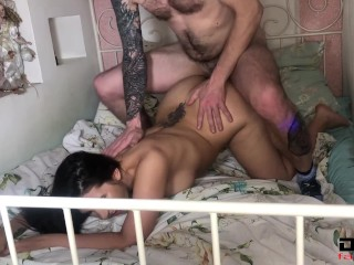 Girl Deep Sucks Stranger's Dick, Fucks In Different Poses And Receives Cumshot On Ass