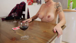 Sexy milf plays Strip Poker with a friend and they end up fucking