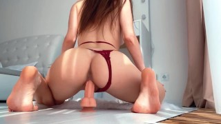 YOUNG COWGIRL RIDES a DILDO AND GET PERFECT ORGASM