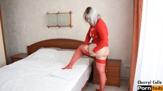 PUTTING ON FESTIVE RED STOCKINGS FOR XMAS OUTFIT