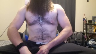 Giant Viking Bear strokes his big cock quietly while roommates upstairs, Growl and cumshot ending