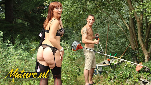 Horny Wife Can't Wait For Her Husband To Come Home So She Fucks The Gardener Instead