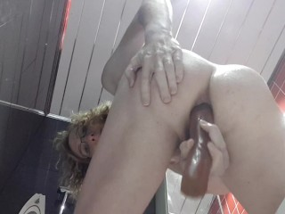 Fucking myself with a big dildo in the bathroom