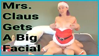 Mrs. Claus Gets A Big Messy Facial
