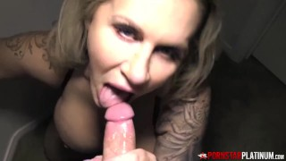 PORNSTARPLATINUM Busty MILF Ariella Ferrera Blows Huge Cock