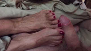 Granny Ann and her Holiday Red Toes Make You Cum With JOI