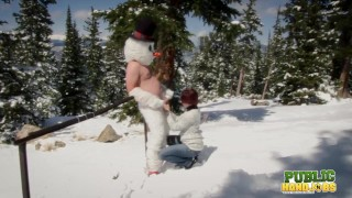 PUBLICHANDJOBS Brandi de Lafey Strokes Frosty the Snowman While Stranded in the Mountains