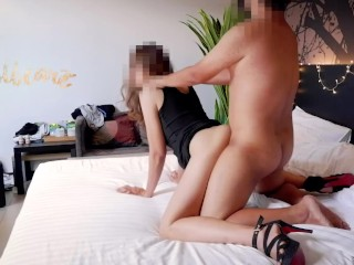 HOT ASIAN OFFICE LADY fucking with her BOSS on balcony