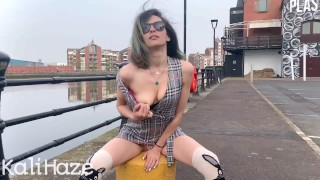 Irish girl flashes and begs you to fuck her in public