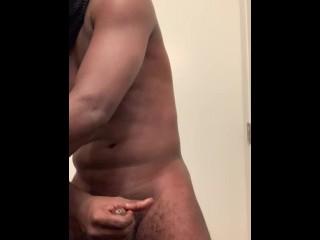 Black Cock Masturbating Cumshot