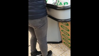 Step mom use Lovense Lush Control on public shopping centre and squirt on jeans