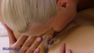 Massage Rooms Big tits blonde Emily bright fingered and scissoring with sexy lesbian Billie Star