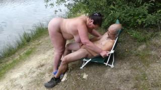 Blowjob cumshot and pee at the nudist lake