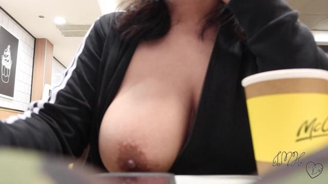 Big tits walking pornhub Eating In A Fast Food Restaurant With My Big Boobs Out Pornhub Com