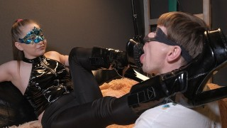 Princess spits profusely in the slave's face smears fragrant saliva on his face with her boots