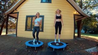 Piper Blush and Charlotte Blush on trampoline, NO BRA