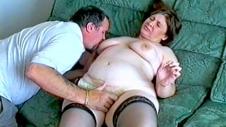 Husband playing with his mature chubby wife