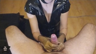 Latex gloves blowjob - ruined 4 times while he was sitting in a chair
