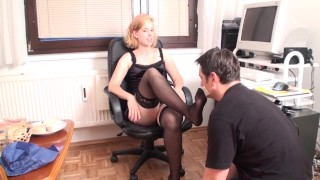 femdom feet smelling in home office by goddess gloria