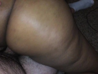 Shy Fat Black Ass opens up to riding white dick