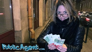 Public Agent French Babe in Glasses Fucked on a Public Stairwell