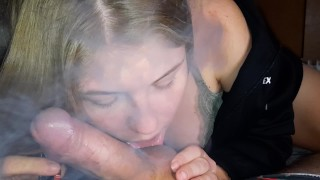 Vaping and well sucking cock taking cum in mouth