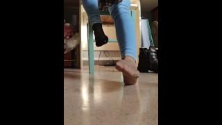 Boots nylon feet fetish