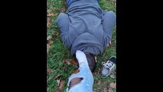 Public feet humiliation