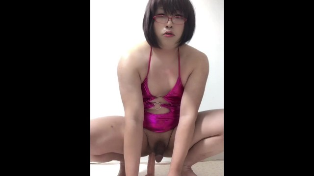 0006 Asian Sissy Crossdresser Fucks her Anal with Dildo while riding