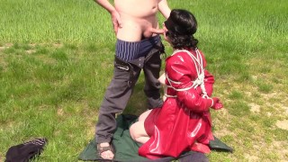Lady in red, submissive part: Tied up and blowjob