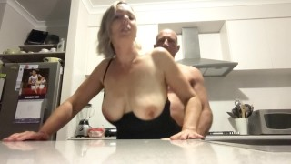 Spur of the moment kitchen fuck turns into hot session with both holes pounded - MIN MOO