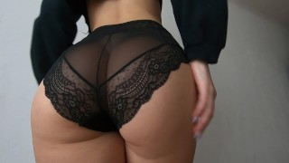Sexy girl tries on panties and shows her naked body