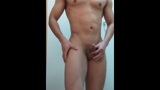 A muscular Asian man takes off his clothes and has a striptease and show anal