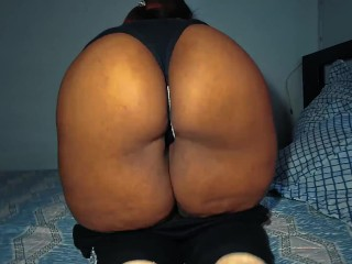 Horny ebony in sport pants revealing his big ass!!!