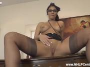 Big tits Secretary Roxy Mendez strips and wanks on desk in stilettos stockings suspenders playboy po