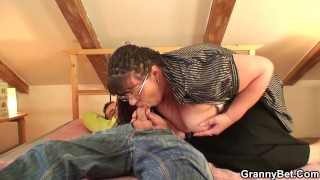 Picked up chubby old woman rides his cock