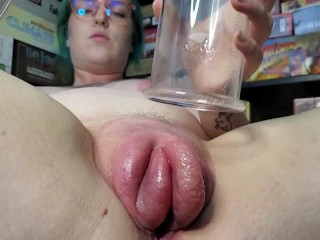Ivy Fucks Her Oiled-Up Pumped Pussy With Glass Dildos! ASMR